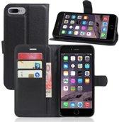 iPhone 7 Plus / iPhone 8 Plus (5.5 inch) - Flip hoes, cover, case - PU leder - TPU - Zwart