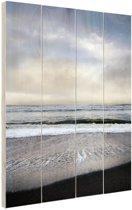Strand Californie Amerika Hout 120x160 cm - Foto print op Hout (Wanddecoratie) XXL / Groot formaat!