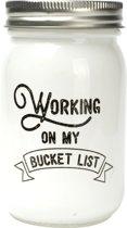 """Dresz Spaarpot """"Working on my bucket list"""" - Wit geverfd glas - 7x13cm"""