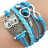 Fako Bijoux® - Multi Armband - Uiltje Hart Infinity - Lichtblauw