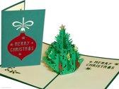 Popcards popupkaarten - Kerstkaart Kerstboom met gekleurde ballen pop-up kaart