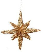 Koperkleurige glitter 3D ster 10 cm