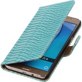 Turquoise Slang booktype cover hoesje voor Samsung Galaxy J5 2016