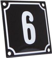 Emaille huisnummer zwart/wit nr. 6 10x10cm