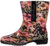 Halfhoge dames regenlaarzen luipaard/bloemen print 39