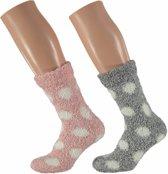 Roze en grijze dames huissokken met stippen 2 paar - maat 36-41 - slofsokken