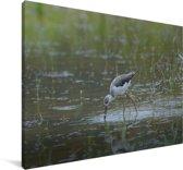 Steltkluut in een groen rijstveld Canvas 180x120 cm - Foto print op Canvas schilderij (Wanddecoratie woonkamer / slaapkamer) XXL / Groot formaat!