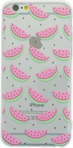 Doorzichtig Watermeloen hoesje iPhone 6/6s TPU silicone cover fruit transparant groen roze meloen