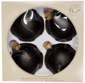 Cosy @ Home Kerstbal glas set 4 zwart mat 8cm