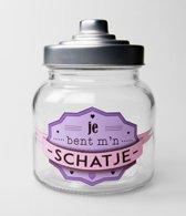 Valentijn - Snoeppot Schatje - Gevuld met verse luxe toffeemix - In cadeauverpakking met gekleurd lint
