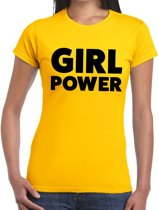 Girl Power tekst t-shirt geel dames - dames shirt Girl Power M