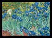 Vincent van Gogh irissen-bloemen poster Luxe uitvoering compleet met lijst Aanbieding 50x70cm.