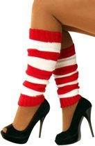 5x Paar Beenwarmers rood/wit