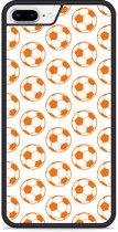 iPhone 8 Plus Hardcase hoesje Orange Soccer Balls