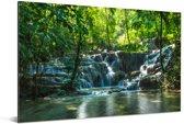 Jungle waterval in Palenque Mexico Aluminium 180x120 cm - Foto print op Aluminium (metaal wanddecoratie) XXL / Groot formaat!