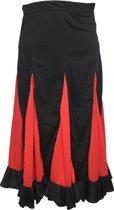 Spaanse Flamenco Rok – zwart met rode stRoken voor meisjes – Maat 6, kledingmaat 104-110