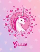Grace: Unicorn Large Blank Primary Sketchbook Paper - Pink Purple Magical Horse Personalized Letter G Initial Custom First Na