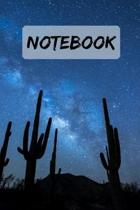Notebook Night sky Cactus Journal Notepad: 6x9'' 120 Page Blank lined Note book.