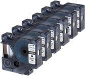 6x Compatible voor Dymo D1 45010 Standard Label Tape - Zwart op Transparent - 12mm x 7m