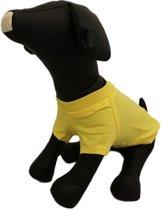 Shirt geel met mouw voor de hond. - L ( rug lengte 30 cm, borst omvang 42 cm, nek omvang 30 cm )