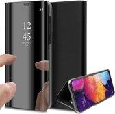 iCall - Samsung Galaxy A50 Hoesje - Spiegel Lederen Book Case - Zwart