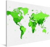 Felgroene wereldkaart Canvas 30x20 cm - klein - Foto print op Canvas schilderij (Wanddecoratie woonkamer / slaapkamer)
