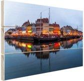 Nyhavn in schemering Hout 120x80 cm - Foto print op Hout (Wanddecoratie)