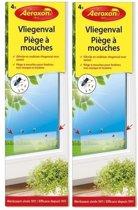 8x Aeroxon vliegenvanger raam plakstrips 21 cm - Vliegenstrips milieuvriendelijk 8 stuks - Anti-insect - Insectenbestrijding