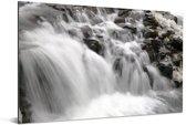 Erg veel stromend water van de Gullfoss waterval Aluminium 180x120 cm - Foto print op Aluminium (metaal wanddecoratie) XXL / Groot formaat!