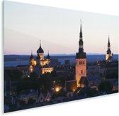 Het Stadshart van Tallinn tijdens de schemering in Estland Plexiglas 180x120 cm - Foto print op Glas (Plexiglas wanddecoratie) XXL / Groot formaat!