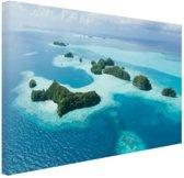 Tropische eilanden luchtfoto Canvas 180x120 cm - Foto print op Canvas schilderij (Wanddecoratie woonkamer / slaapkamer) XXL / Groot formaat! / Zee en Strand