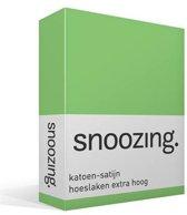 Snoozing - Katoen-satijn - Hoeslaken - Extra Hoog - Lits-jumeaux - 200x200 cm - Lime