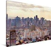 Uitzicht over de stad Manila Canvas 180x120 cm - Foto print op Canvas schilderij (Wanddecoratie woonkamer / slaapkamer) / Aziatische steden Canvas Schilderijen XXL / Groot formaat!