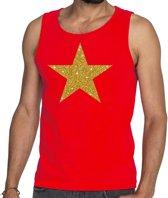 Gouden ster glitter tekst tanktop / mouwloos shirt rood heren - heren singlet Gouden ster M