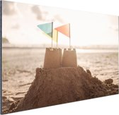 Zandkasteel op het strand Aluminium 180x120 - XXL cm - Foto print op Aluminium (metaal wanddecoratie)
