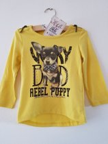Knot so Bad-meisjes-shirt/longsleeve-Very Bad Rebel Puppy-kleur: geel-maat 98
