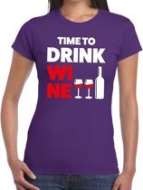 Time to drink Wine tekst t-shirt paars dames 2XL