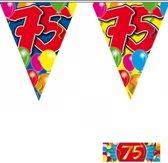 3x vlaggenlijn / slinger 75 jaar met gratis sticker - leeftijd versiering
