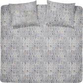 Damai Carve - Flanel - Dekbedovertrek - Lits-jumeaux - 240x200/220 cm + 2 kussenslopen 60x70 cm - Grey