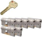 7x M&C 32/32 Condor cilinder SKG*** met cilindertrekbeveiliging F1/nikkel / 8 sleutels