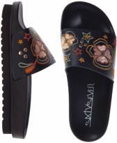 Dames slippers - maat 40 - zwart - geborduurd