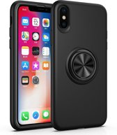 iPhone X / Xs Siliconen Hoesje Zwart met Ring en Magneet Premium Back Cover Shockproof Case