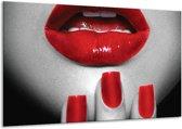 Glas schilderij Lippen, Vrouw | Grijs, Rood | 120x70cm 1Luik | Foto print op Glas |  F007237