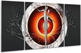 Glasschilderij Modern | Grijs, Oranje, Rood | 160x80cm 4Luik | Foto print op Glas |  F004895