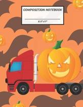 Composition Notebook: Red Truck Contain Halloween Pumpkin Jack O Lantern, Bat, Wide Ruled paper Notebook, Notes Taking, Basic Lines Journal,