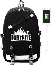 Rugzak met USB Aansluiting - Schooltas met Handige Vakjes - Rugtas Zwart/Wit Fortnite