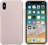 Luxe siliconen hoesje - zand roze - voor Apple iPhone XR - suède binnenkant