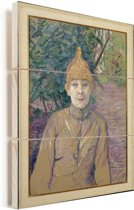 The Streetwalker - Schilderij van Henri de Toulouse-Lautrec Vurenhout met planken 60x80 cm - Foto print op Hout (Wanddecoratie)