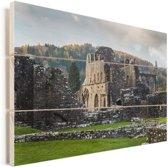Zonnestralen over de Tintern Abbey in Wales Vurenhout met planken 120x80 cm - Foto print op Hout (Wanddecoratie)