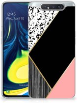 TPU Siliconen Hoesje Samsung Galaxy A80 Zwart Roze Vormen